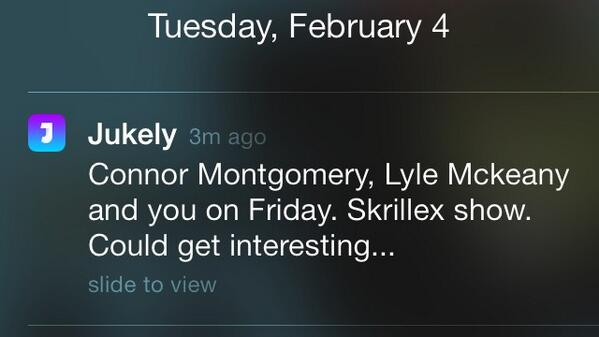 Jukely push notifications are the best. cc @xBora @connor @lylemckeany http://t.co/M7jiMVda2s