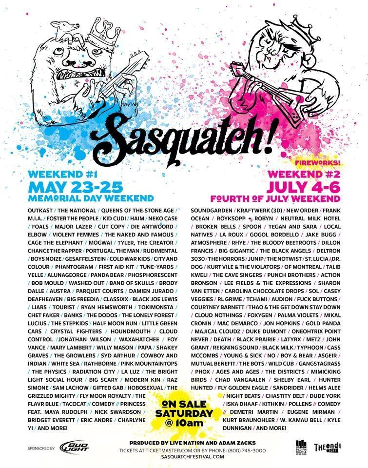 Sasquatch lineup finally announced and it's HUGE.