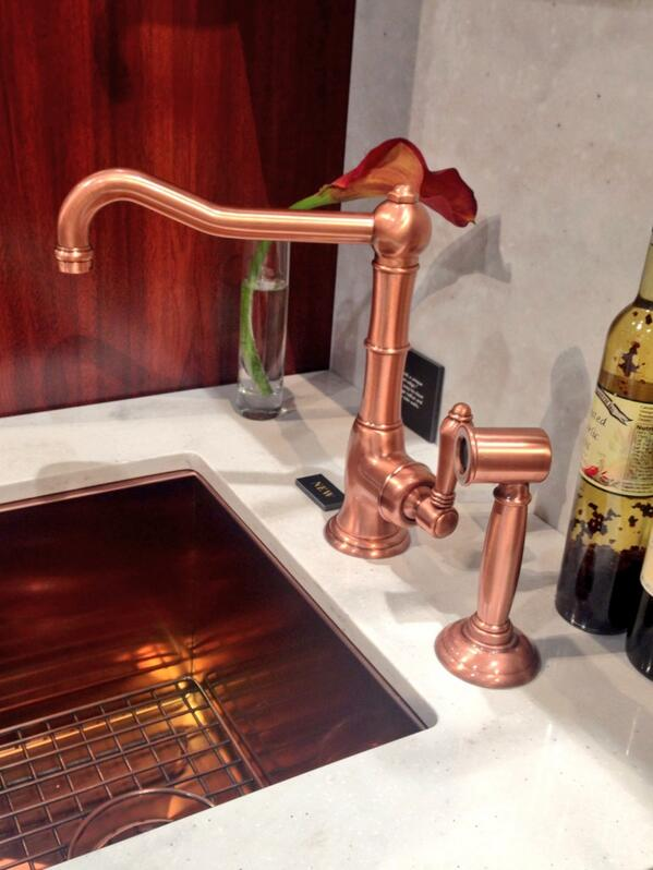 Not available yet but @ROHL_Official is toying with copper finishes on  traditional fixtures #DesignLux #KBIS2014 http://t.co/aP4VLzPh53