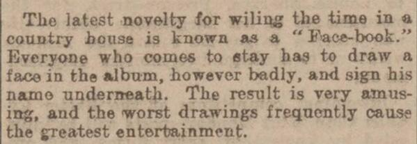 Facebook may be 10, but here's face-book from the English paper Western Times in 1902. http://t.co/QIfxEWvqOW