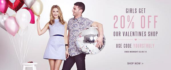 Girls get 20% off our Valentine's Shop! Spoil yourself and use code YOURSTRULY now: http://t.co/vymfAmVJgq http://t.co/74ZVsd2NbT