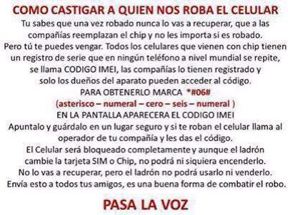 Si te roban el celular Castiga al ladrón-Registra tu IMEI (celular) en tu operador @ClaroEcua @MovistarEC @CNTALDIA http://t.co/6xacax9wV4