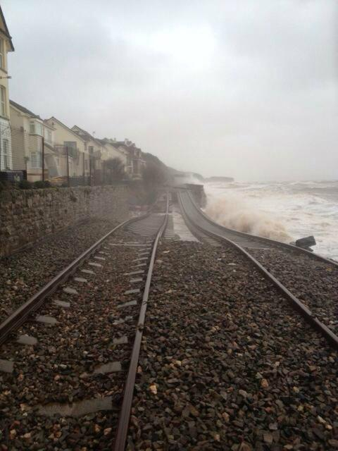 The railway at Dawlish today... I think going to be a while before this re-opens again! http://t.co/5HmOG5KAxC