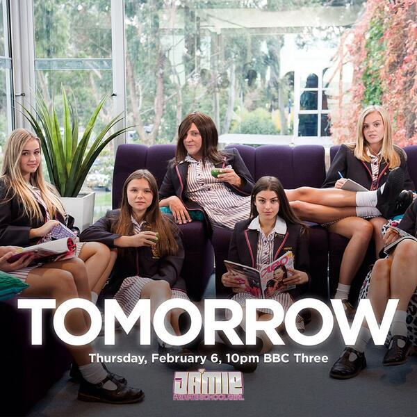 "UK!!! It's really happening tomorrow. ""Ja'mie: Private School Girl"" Premiere 10pm on @bbcthree #privateschoolgirl http://t.co/pDnVsrrTbP"