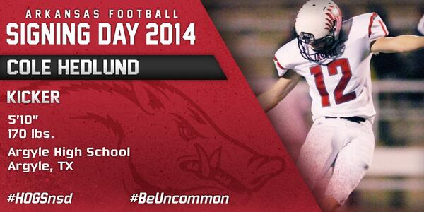 #HOGSnsd Cole Hedlund, K, 5-10, 170 from Argyle HS in Argyle, Texas is in #NeverYield http://t.co/pUgRXJobJ4
