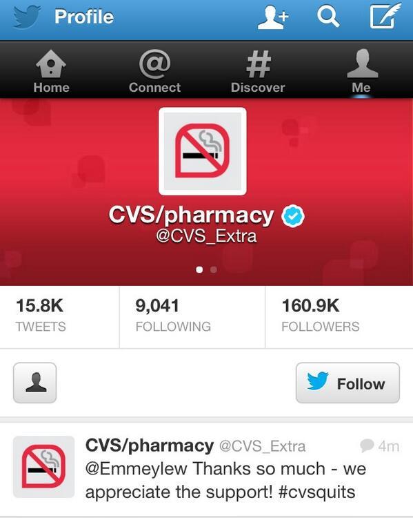Wow… Kudos to #CVS for deciding to take cigarettes off their shelves. Bold move. @CVS_Extra http://t.co/LVz7CqQHF3