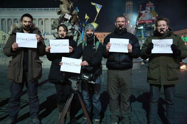 Standing together with our AJ colleagues detained in Egypt  - the AJE team in Kiev. Please retweet #freeAJstaff http://t.co/1N3J5srJAX