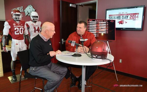 Signing Day Live has started! Watch @BretBielema and staff talk about the 2014 Class only on http://t.co/nrWivlWOb7 http://t.co/VYhf2mLOGg
