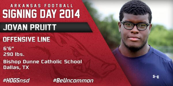 #HOGSnsd Jovan Pruitt, OT, 6-6, 290 from Bishop Dunne Catholic HS in Dallas, Texas is in #NeverYield http://t.co/FBwb0eNyR3