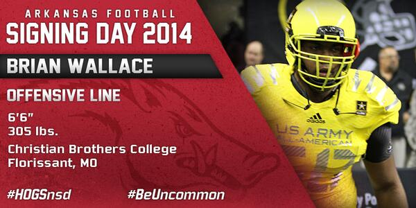 #HOGSnsd Brian Wallace, OT, 6-6, 305 from Christian Brothers College HS in Florissant, Mo. is in #NeverYield http://t.co/vPF6Se0z8g