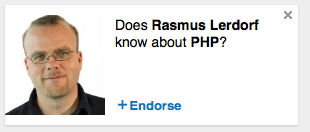 LOL _  @kevinbruce: meanwhile, on @LinkedIn #php /cc @rasmus http://t.co/QaNri6ZbjZ