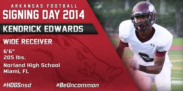 #HOGSnsd Kendrick Edwards, WR, 6-6, 205 from Norland HS in Miami, Fla. is in #NeverYield http://t.co/0gnhO2ehZL