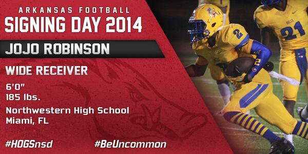 #HOGSnsd JoJo Robinson, WR, 6-0, 185 from Northwestern HS in Miami, Fla. is in #NeverYield http://t.co/GpFpFyCQjI