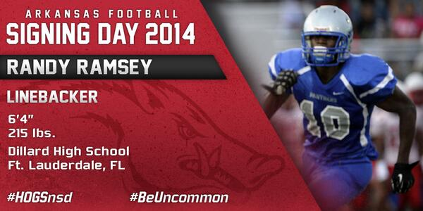 #HOGSnsd Randy Ramsey, LB, 6-4, 215 from Dillard HS in Ft. Lauderdale, Fla. is in #NeverYield http://t.co/8o8tufslOV