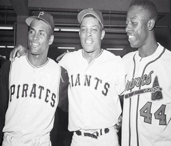 ...the greatest All-Star Game outfield ever: Roberto Clemente, Willie Mays & Hank Aaron #nlbm http://t.co/gNwDegMiUc