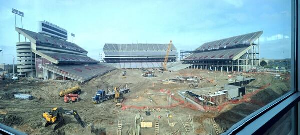Talked to @CoachSumlin about massive renovations to Kyle Field. Don't worry, @AggieFootball will play here in fall! http://t.co/YlEPJ8U6Tc