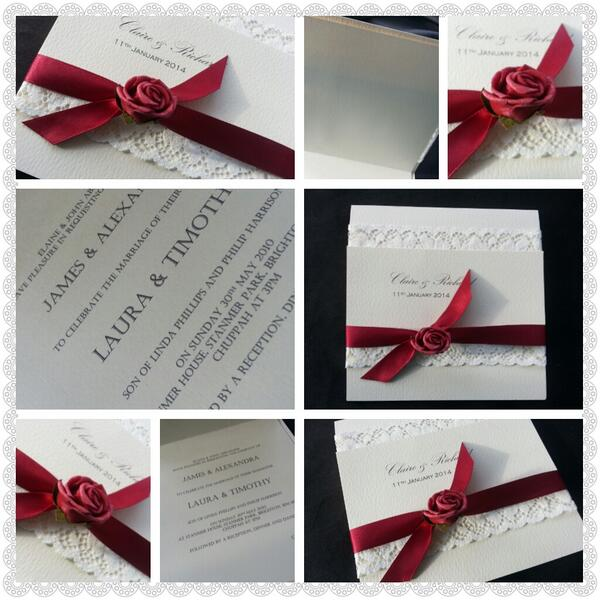 Lace and rose invitation.oh so very vintage in red