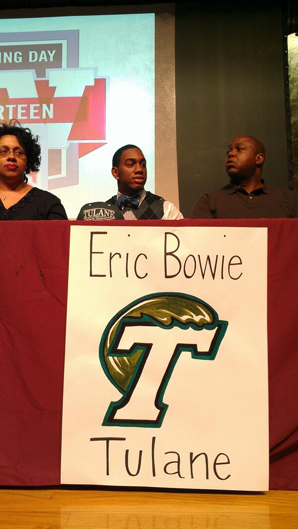 Eric Bowie, with Ouachita, signs with Tulane. http://t.co/JiOcbTNqd4