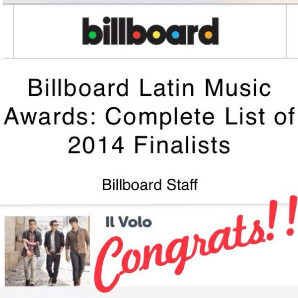 #Billboards2014 #latinmusicawards #nominated @ilvolo @piero_barone @GianGinoble @IBoschetto  C O N G R A T S #proud http://t.co/DRTYNwbsmE