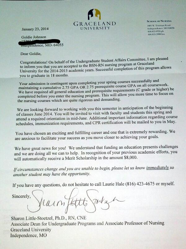 Goldie johnson on twitter official acceptance letter to graceland goldie johnson on twitter official acceptance letter to graceland nursing school httptwmwsavhneb expocarfo