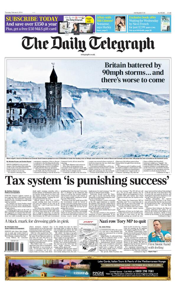"""""""@BBCNews: Daily Telegraph: """"Tax system 'is punishing success'"""" http://t.co/YCK7lWWXiA - via @suttonnick #TomorrowsPapersToday #BBCPapers"""""""