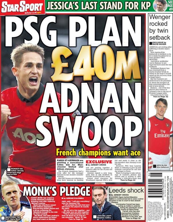 PSG are planning £40 million swoop for Manchester Uniteds Adnan Januzaj [Star Sport]