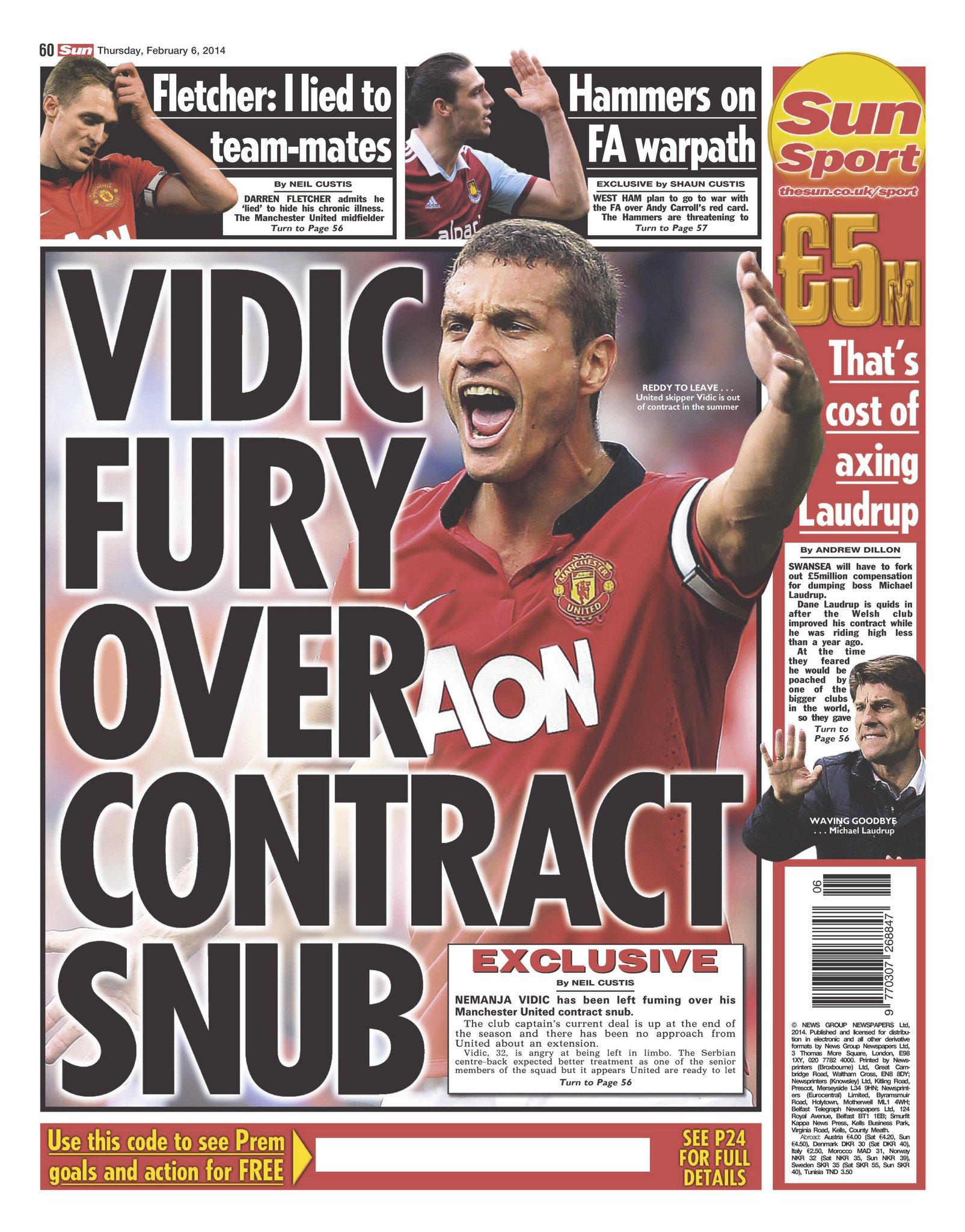 Nemanja Vidic is furious with Man United for not offering him a new deal, Serb heading to Serie A [Sun]