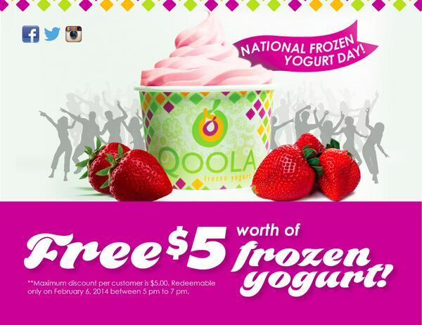 Tomorrow @ 5-7pm show that you follow us on Instagram, Twitter or that you are a Qcard member & get $5 of free yogurt http://t.co/yIr1qeuwzv