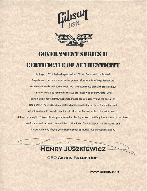 My dad got his Government Series II Les Paul today & you have to see the Certificate of Authenticity. Gibson Rocks! http://t.co/9gbWTL0XTm