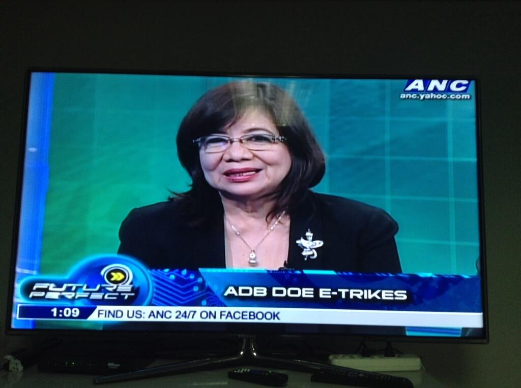 NOW: DOE USec. Loreta Ayson, along w/ ADB's Sohail Hasnie, is on @ANCALERTS's Future Perfect for the E-trike project. http://t.co/sozpGy1XIP