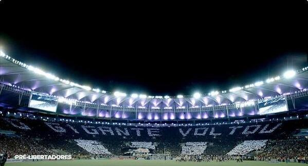 Botafogo fans displayed a fabulous and massive mosaic at the Maracana in the Copa Libertadores