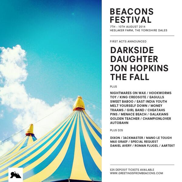 Beacons line up announced: @DarksideUSA @ohdaughter @Jon_Hopkins_ @jackmaster danielmarkavery @romanfluegel http://t.co/Tkhu5bGIb6