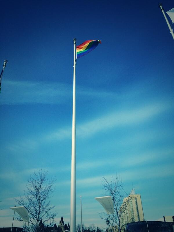 The Pride Flag will fly at Ottawa City Hall until the end of the Olympics. #Sochi2014 http://t.co/MW2qo3FsAS