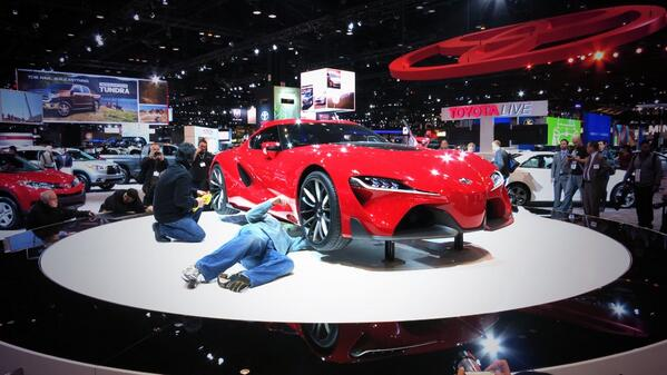 1 of my favorite shots from the Chi Auto Show so far. Guys working on the Toyota FT-1 #ChicagoAutoShow #CAS2014 http://t.co/mW2nCvsX69