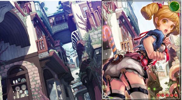 으음;;;; 도용RT 보고 해당게임 위키 갔다가 도용한거 하나 더 찾음;; 왼쪽은 호냐라라님 개인작 배경, 오른쪽은 카드일러스트.. http://t.co/4Q817R0xhv