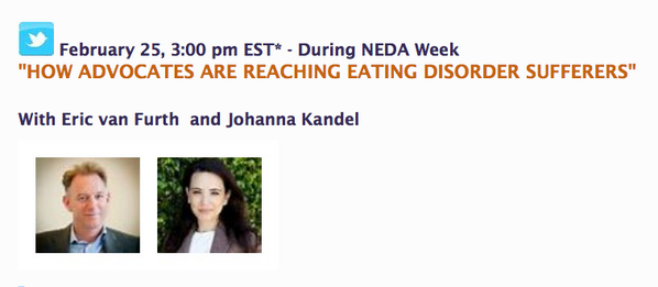 We'll be hopping onto the #AEDchat at 3PM EST. Learn how advocates can help people w/ eating disorders! http://t.co/x9XIdz1bhJ...