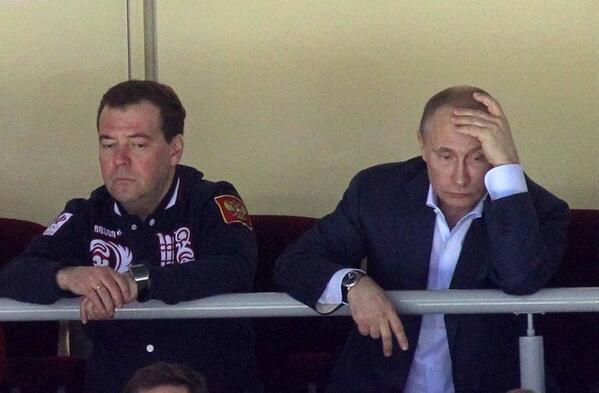 Putin and Medvedev are not pleased with Russia's loss to Finland. #sochi2014 http://t.co/pGeG7DGc16