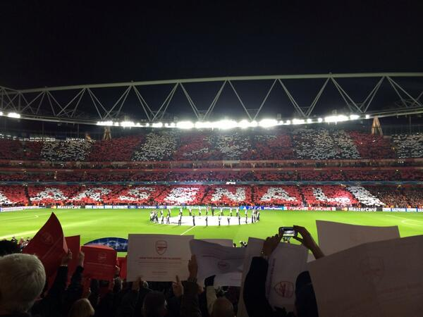 Arsenal fans produce a wonderful pre match display ahead of Bayern Munich clash [Pics & Vine]