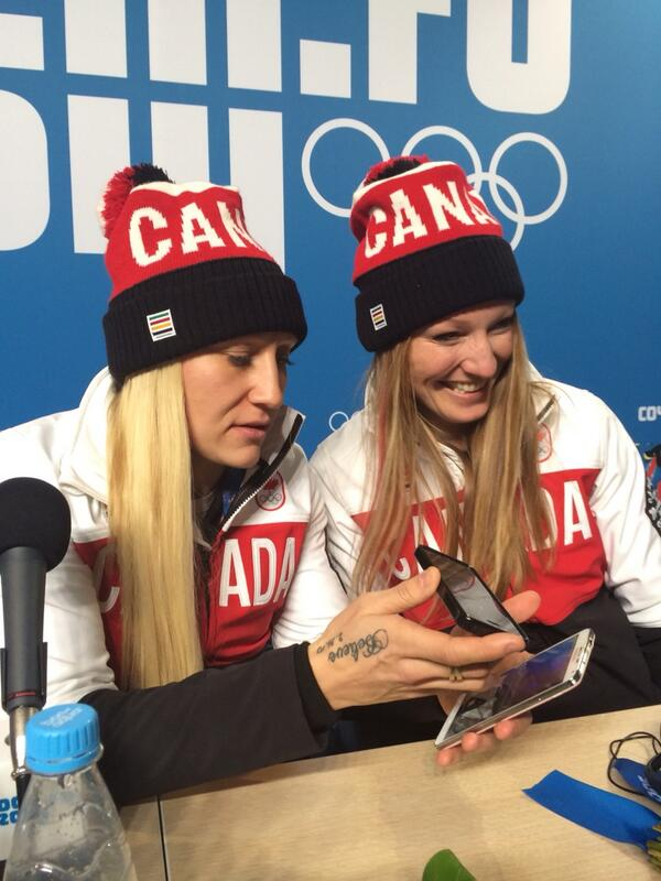 Kaillie and Heather on phone with Prime Minister Stephen Harper http://t.co/p4liEWLWx7
