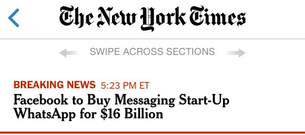 New York Times: #Facebook to Buy Messaging Start-Up #Whatsapp for $16 Billion http://t.co/wxAwJQCFcp