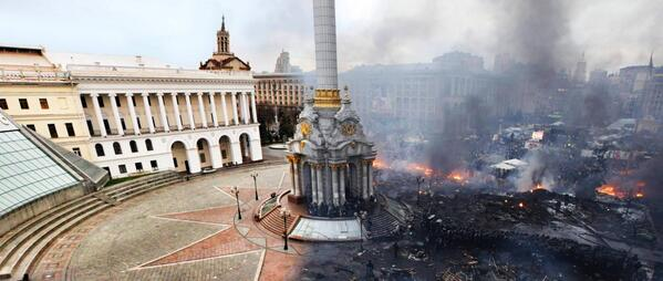 Insane picture. Before and after - Kiev Independence Sq. http://t.co/spXuWyqSUx