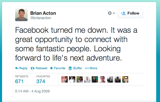 Facebook's 16B hiring mistake #whatsapp (note the date of the tweet in the pic) http://t.co/rgbVqxiJuA