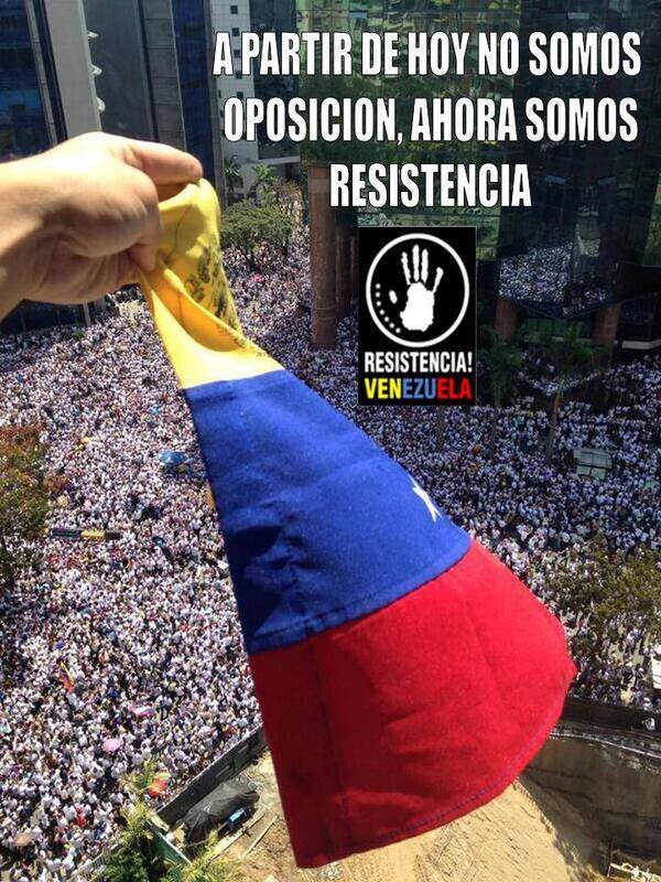 """Ya no somos Opocision, Ahora somos Resistencia!! #19FVnzlaEnlaCalleNicolasPaElConoTeVas http://t.co/uE3s1sZmp8"""""""""""