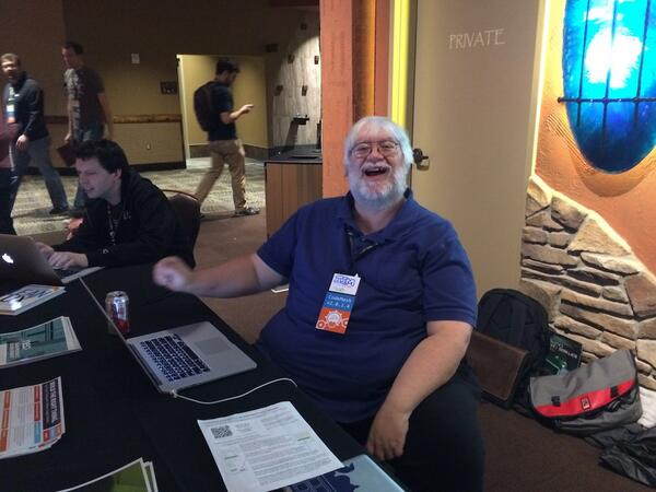 Sad to see you go @jimweirich . RT @mikedoel: Pretty much every picture of Jim ever. Smiling and bringing joy. RIP. http://t.co/UOwZy3aVy9