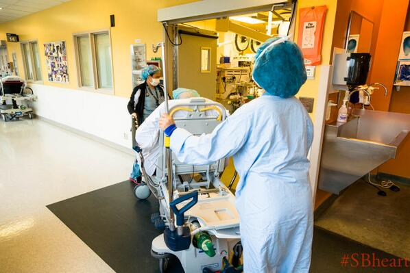 Our heart surgery patient Lou is now being taken into the operating room. #SBheart http://t.co/XrpH9YgUyF