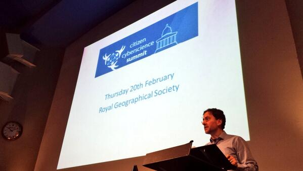 @FrancoisGrey opening promissing citizen cyberscience summit. Thx Royal Geographical Society & UCL for hosting #ccs14 http://t.co/ovdMUESWTv