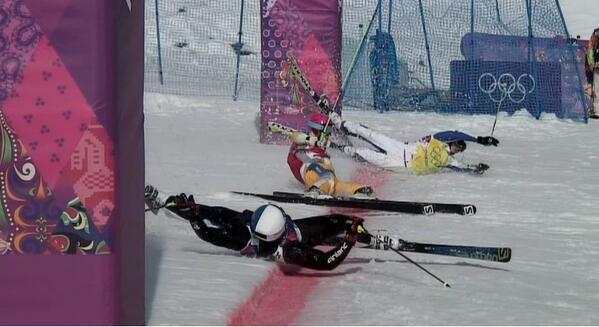 Is this the greatest photo finish ever? The action has been fast and crazy in the #SkiCross this morning. http://t.co/hUDzw2z53t
