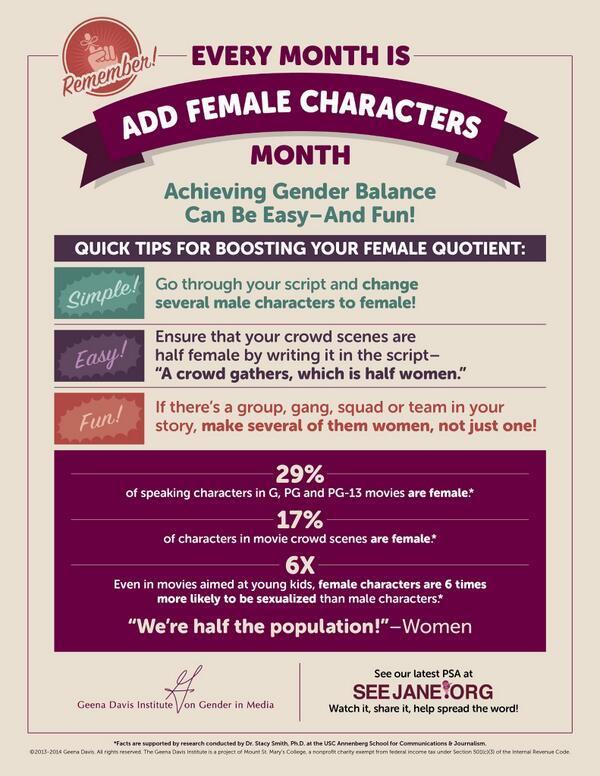 Every month is add female characters month! http://t.co/4dh8VDJ3cQ