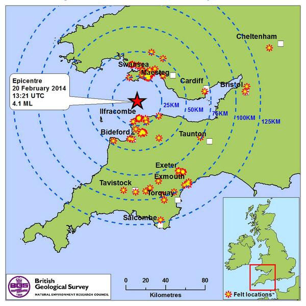 Bristol Channel earthquake: map showing the epicentre and where it was felt this afternoon. More info @BritGeoSurvey http://t.co/gre1uzVZHV