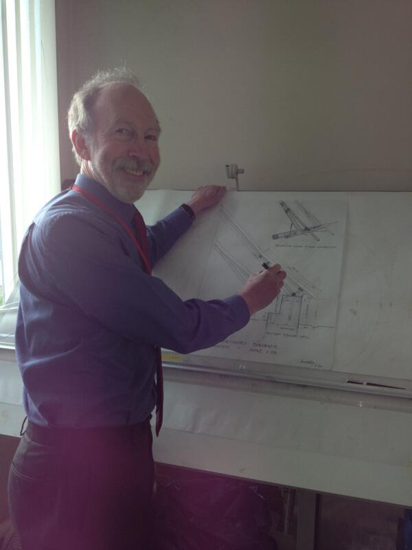 Gerallt designing the roof for the #BrynEryr roundhouse - you won't see a roof like this anywhere else! http://t.co/hccVsbpnuy